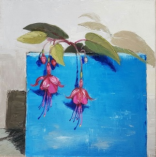 Fuchsia with blue tile